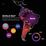Ejemplo del vector del diseño del mapa de Suramérica Imagenes de archivo