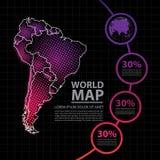 Ejemplo del vector del diseño del mapa de Suramérica Foto de archivo libre de regalías