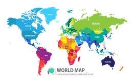 Ejemplo del vector del diseño del mapa del mundo Foto de archivo