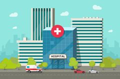Ejemplo del vector del edificio del hospital, centro médico moderno o clínica de la historieta plana en clipart de la calle de la