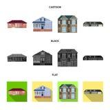 Ejemplo del vector del edificio y del icono delantero Colecci?n de s?mbolo com?n del edificio y del tejado para el web ilustración del vector