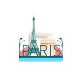 Ejemplo del vector en el estilo plano de las vistas de París Foto de archivo libre de regalías