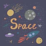 Ejemplo del vector en el tema del espacio ilustración del vector