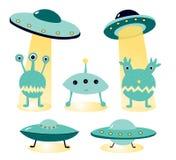 Ejemplo del vector en el tema del ufology: UFO, extranjeros Carteles extranjeros del ataque ilustración del vector