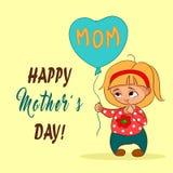 Ejemplo del vector en estilo de la historieta Niña con el globo Para la celebración del día feliz del ` s de la madre Mano drenad Fotografía de archivo libre de regalías