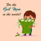 Ejemplo del vector en estilo de la historieta Niño pequeño con el ramo de flores Para la celebración del día feliz del ` s de la  Imágenes de archivo libres de regalías