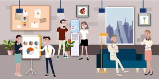Ejemplo del vector en un estilo plano de las mujeres, de los hombres y del jefe de los trabajadores del equipo de la oficina de n stock de ilustración
