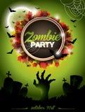 Ejemplo del vector en un fondo del verde del themeon del partido del zombi de Halloween. Imagen de archivo libre de regalías