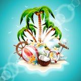 Ejemplo del vector en un tema de las vacaciones de verano ilustración del vector