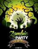 Ejemplo del vector en un tema del partido del zombi de Halloween Imagen de archivo libre de regalías