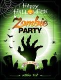 Ejemplo del vector en un th del partido del zombi de Halloween Imágenes de archivo libres de regalías