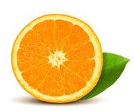 Naranja fresca del vector con la hoja Foto de archivo libre de regalías