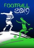 Ejemplo del vector del fútbol Siluetas de jugadores de fútbol en el campo de fútbol en estilo del grunge ilustración del vector