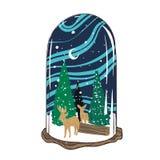 Ejemplo del vector: Feliz Navidad y Feliz Año Nuevo El globo de la nieve con las montañas del invierno ajardina aislado en el fon libre illustration