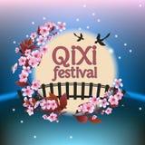 Ejemplo del vector del festival de Qixi o de Tanabata, ilustración del vector