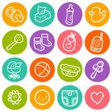 Ejemplo del vector fijado con los iconos redondos del bebé Los niños juegan, diapering, los artículos de alimentación, cochecito, Fotos de archivo libres de regalías