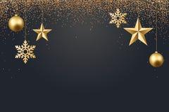 Ejemplo del vector del fondo 2017 de la Navidad con oro del confeti del copo de nieve de la estrella de la bola de la Navidad y c Fotografía de archivo libre de regalías