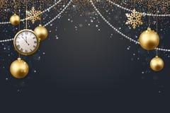 Ejemplo del vector del fondo 2017 de la Navidad con oro del confeti del copo de nieve de la estrella de la bola de la Navidad y c Imágenes de archivo libres de regalías