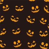 Ejemplo del vector del fondo del feliz Halloween Ornamentos de la ejecución de Halloween en fondo anaranjado stock de ilustración