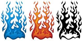 Ejemplo del vector del fuego en llamas azules y negras rojas ilustración del vector