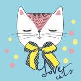 Ejemplo del vector del gato blanco del bosquejo handdrawn con el arco del lunar y las letras - ame los gatos imagen de archivo
