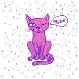 Ejemplo del vector del gato blanco exhausto con los brazos abiertos, cara feliz de la mano linda de la historieta, poniendo letra ilustración del vector