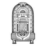 Ejemplo del vector del grabado de la máquina tocadiscos Fotos de archivo libres de regalías