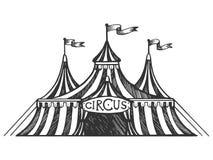 Ejemplo del vector del grabado de la tienda de circo Imagen de archivo