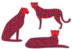 Ejemplo del vector del guepardo Guepardo del vector en colores intrépidos inusuales Guepardo en actitudes differeent stock de ilustración