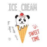 Ejemplo del vector del helado en meme y estilo cómico Etiqueta engomada fresca para el remiendo, el cartel, el diario, el ordenad libre illustration