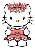 Ejemplo del vector del Hello Kitty con el vestido rosado corto y una guirnalda de flores rosadas en su cabeza, aislada en el fond ilustración del vector