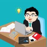 Ejemplo del vector - hombre de negocios que trabaja en el escritorio Imagen de archivo