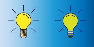 Ejemplo del vector del icono amarillo de la bombilla como símbolo de la idea en fondo azul de la pendiente stock de ilustración