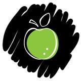 Ejemplo del vector del icono de Apple en fondo negro Foto de archivo