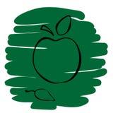 Ejemplo del vector del icono de Apple en fondo verde Fotografía de archivo