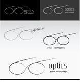Ejemplo del vector del icono de los vidrios de la silueta Logo Optics Shop stock de ilustración