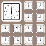 Ejemplo del vector, icono del reloj para el trabajo creativo y del diseño Fotografía de archivo libre de regalías