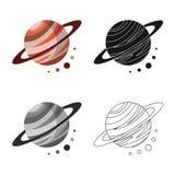 Ejemplo del vector del icono del planeta y del sistema Fije del planeta y del icono del vector de la órbita para la acción libre illustration