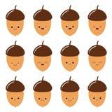 Ejemplo del vector del icono sonriente del emoji en el tema del d?a de fiesta del oto?o Autumn Smileys Bellota del roble ilustración del vector