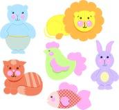 Ejemplo del vector - iconos de los juguetes del bebé fijados Imagen de archivo libre de regalías