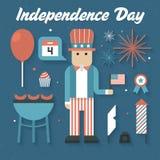 Ejemplo del vector: Iconos planos fijados de Día de la Independencia Fotografía de archivo
