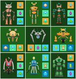 Ejemplo del vector del intelecto de las criaturas de los robots ilustración del vector