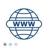 Ejemplo del vector ir a la línea icono de la web Internet WWW - icono del World Wide Web Internet del icono del Internet? e infor stock de ilustración