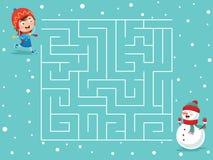 Ejemplo del vector del laberinto del invierno Imagenes de archivo
