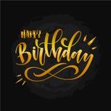 Ejemplo del vector: Letras modernas manuscritas del cepillo del feliz cumpleaños en el fondo blanco Diseño de la tipografía Fotografía de archivo libre de regalías
