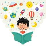 Ejemplo del vector del libro de lectura del niño ilustración del vector