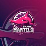 Ejemplo del vector del logotipo de la mascota del tiburón ilustración del vector