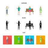 Ejemplo del vector del logotipo de la postura y del humor Colecci?n de postura e icono femenino del vector para la acci?n libre illustration