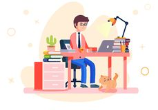 Ejemplo del vector del lugar de trabajo de los hombres de la oficina de negocios libre illustration