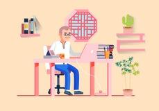 Ejemplo del vector del lugar de trabajo de los hombres de la oficina de negocios ilustración del vector